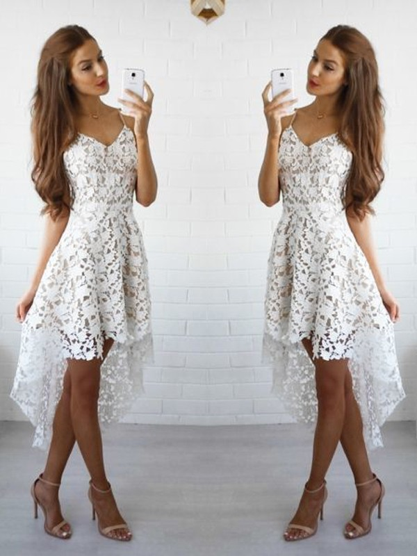 A-Line Spaghetti Straps Short White Homecoming Dresses