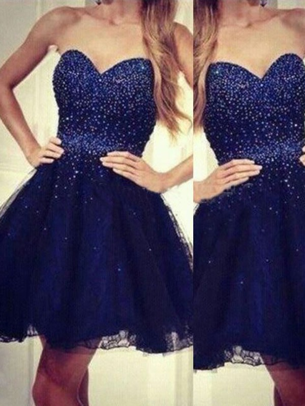 A-Line Sweetheart Short/Mini Dark Navy Homecoming Dresses