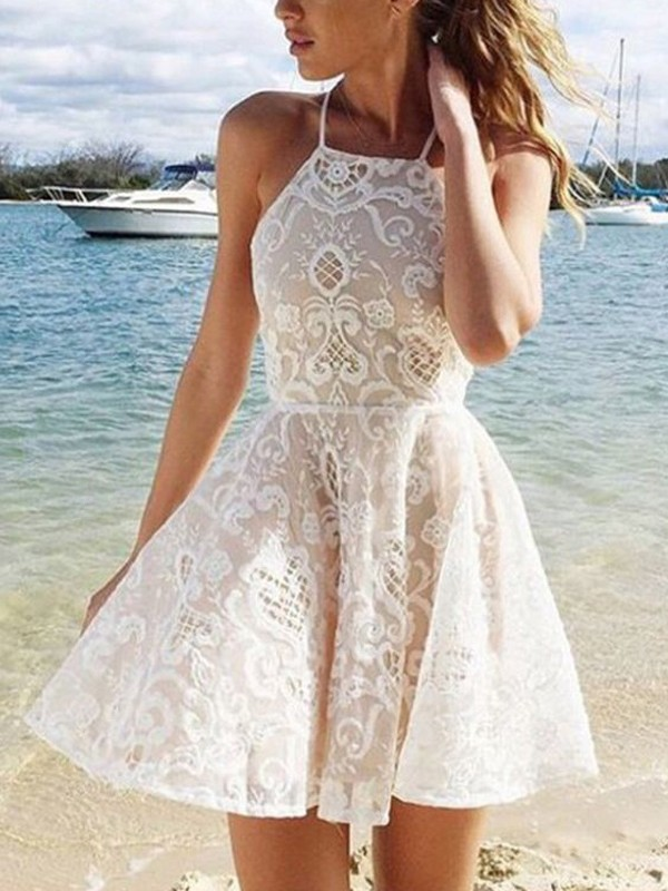 Short/Mini Champagne Halter Homecoming Dresses with Lace