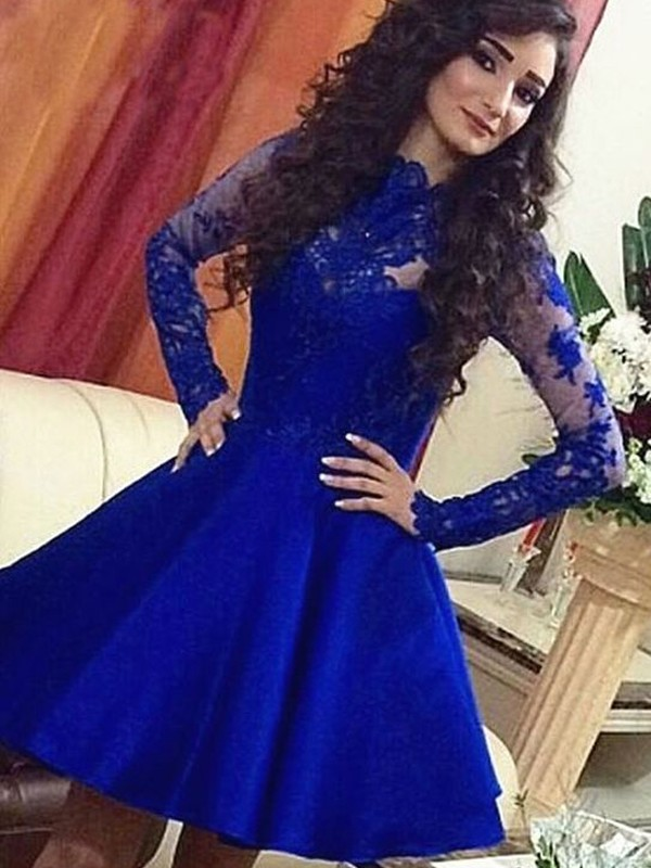 Royal Blue Scoop Satin Short/Mini Homecoming Dresses