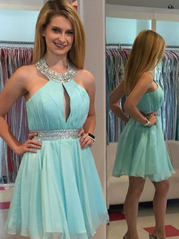 A-Line Halter Short/Mini Green Homecoming Dresses with Beading