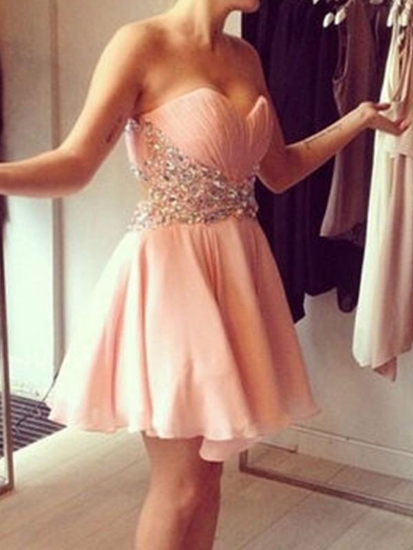 Chiffon Sweetheart Short/Mini Pink Homecoming Dresses