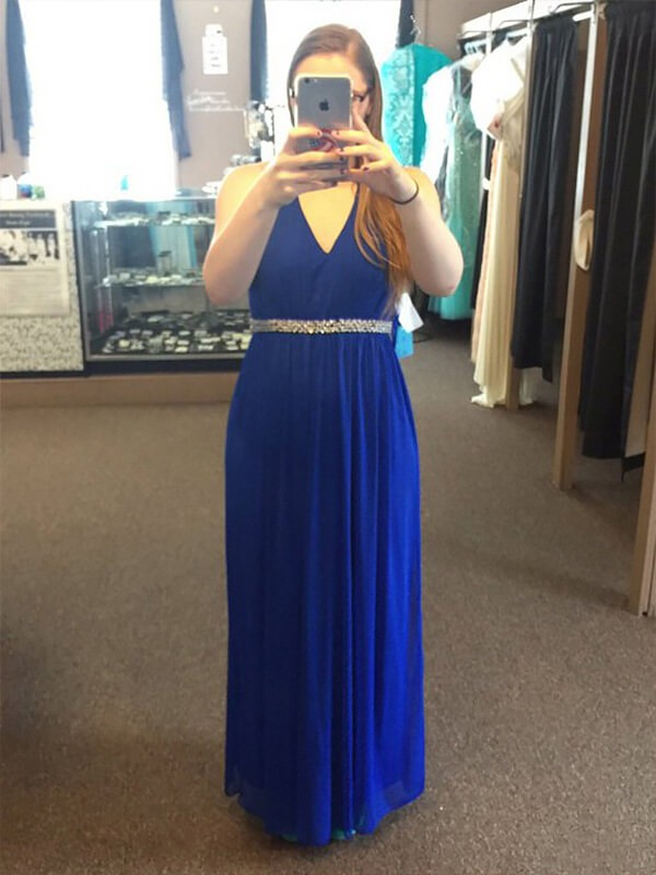A-Line Chiffon V-neck Floor-Length Royal Blue Prom Dresses