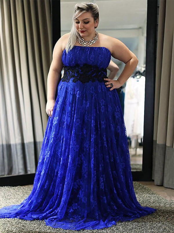 A-Line Strapless Floor-Length Royal Blue Prom Dresses with Applique