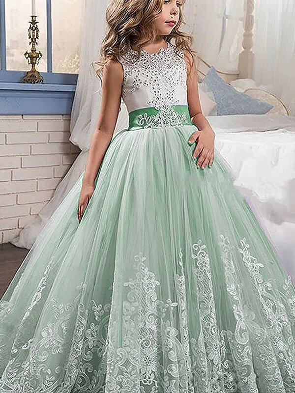 Ball Gown Jewel Brush Train Green Flower Girl Dresses