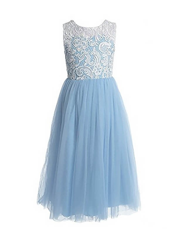 Tulle A-Line Ankle-Length Jewel Light Sky Blue Flower Girl Dresses