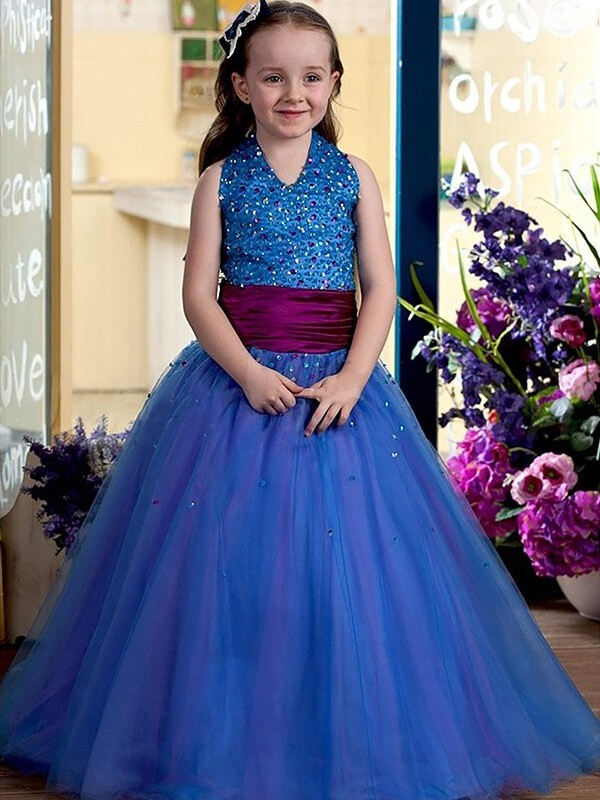 Ball Gown Halter Floor-Length Royal Blue Flower Girl Dresses