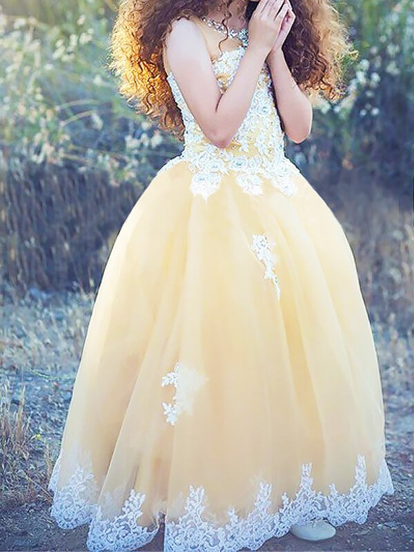 Jewel Floor-Length Champagne Flower Girl Dresses with Applique