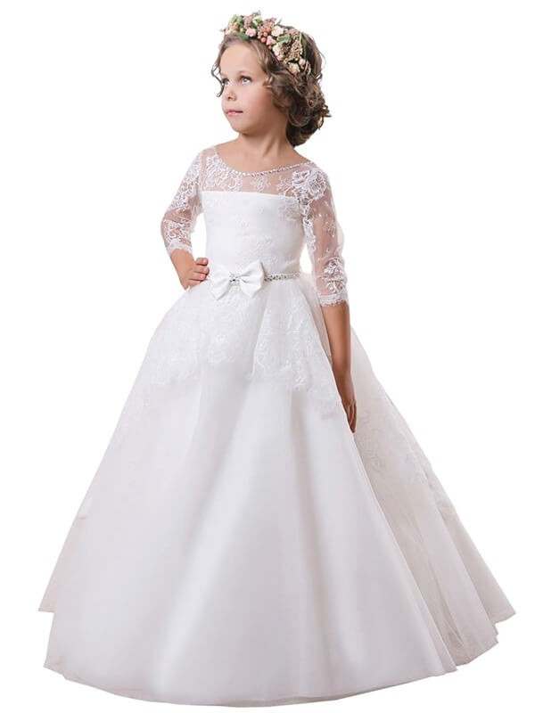 Ball Gown Jewel Brush Train White Flower Girl Dresses with Lace