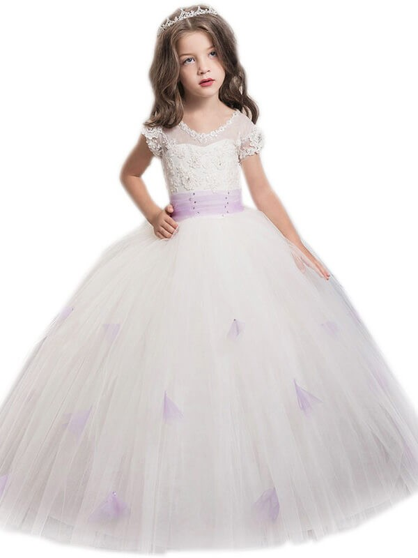 Tulle Floor-Length Short Sleeves Jewel White Flower Girl Dresses