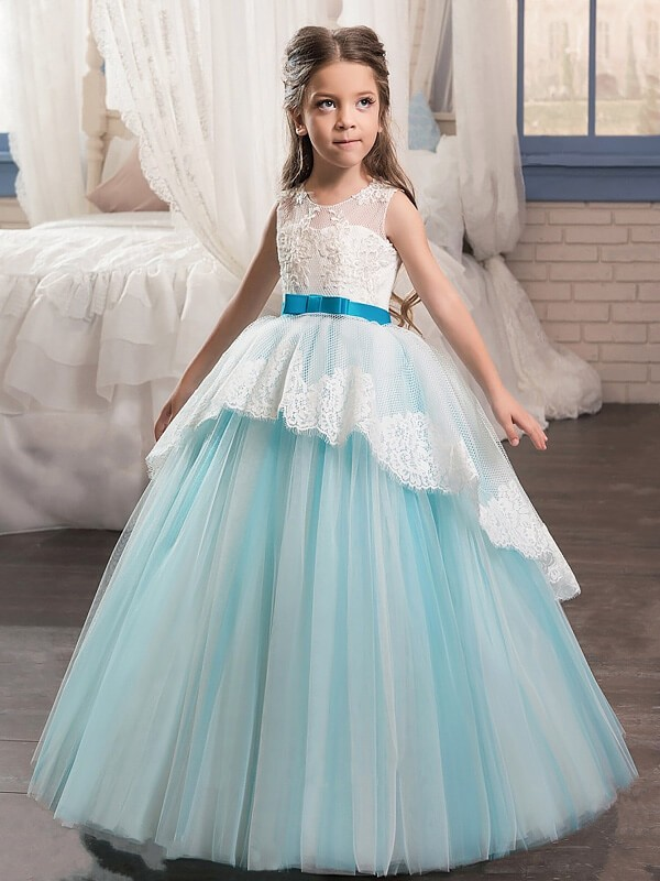 Ball Gown Jewel Floor-Length Light Sky Blue Flower Girl Dresses