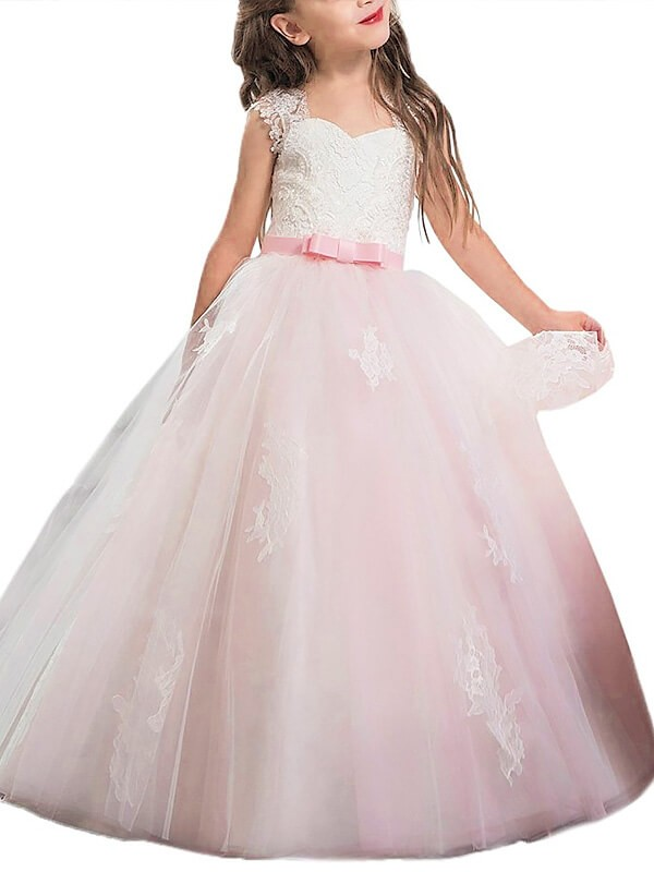 Sweetheart Floor-Length Pink Flower Girl Dresses with Bowknot