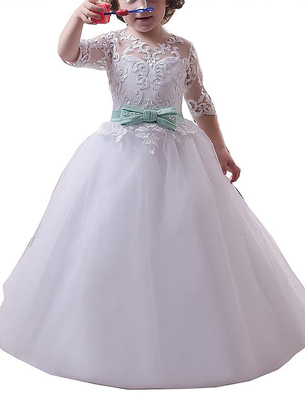 Tulle Half Sleeves Jewel Floor-Length Flower Girl Dresses with Lace