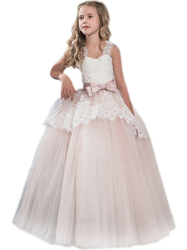 Floor-Length Pink Sweetheart Flower Girl Dresses with Bowknot