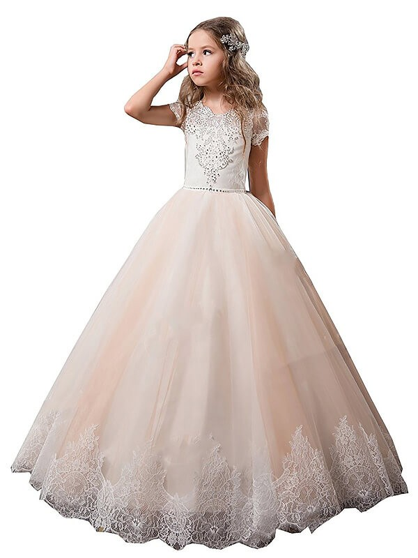 TulleFloor-Length Short Sleeves V-neck Champagne Flower Girl Dresses