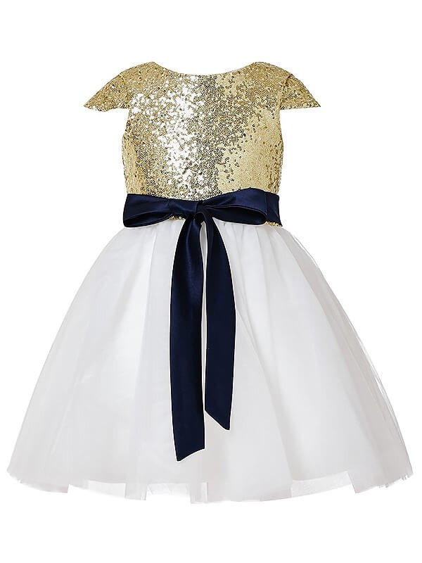 Gold Jewel Tulle Tea-Length Flower Girl Dresses