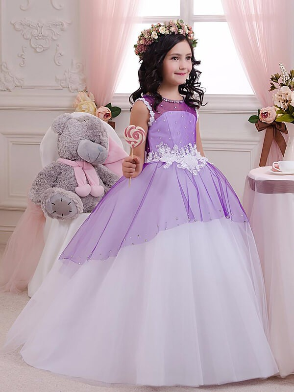 Ball Gown Jewel Floor-Length Lilac Flower Girl Dresses with Applique