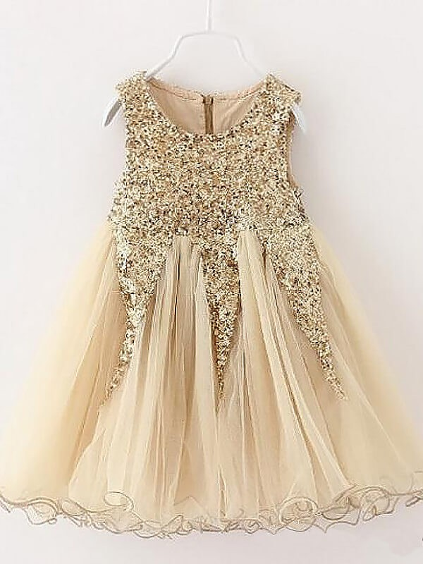 A-Line Tulle Jewel Short/Mini Champagne Flower Girl Dresses