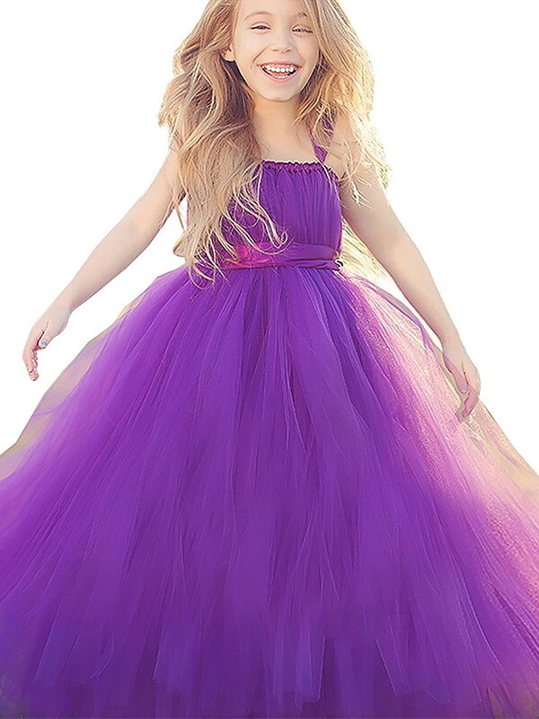 Tulle Straps Floor-Length Fuchsia Flower Girl Dresses