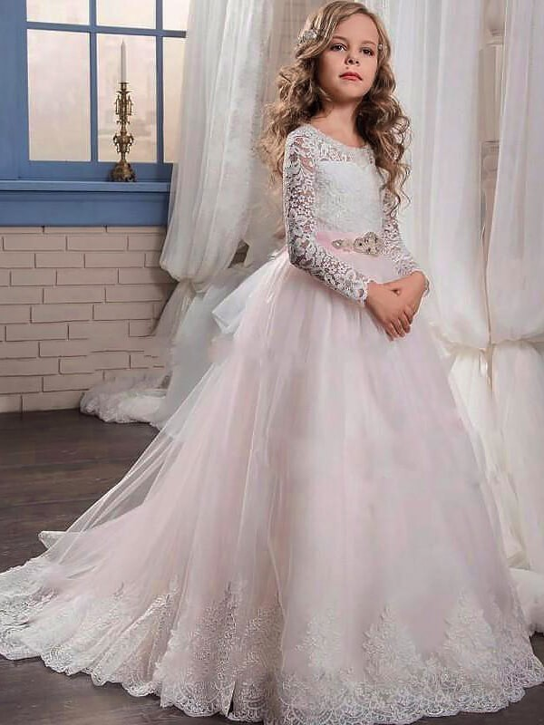 Tulle Long Sleeves Jewel Brush Train Pearl Pink Flower Girl Dresses