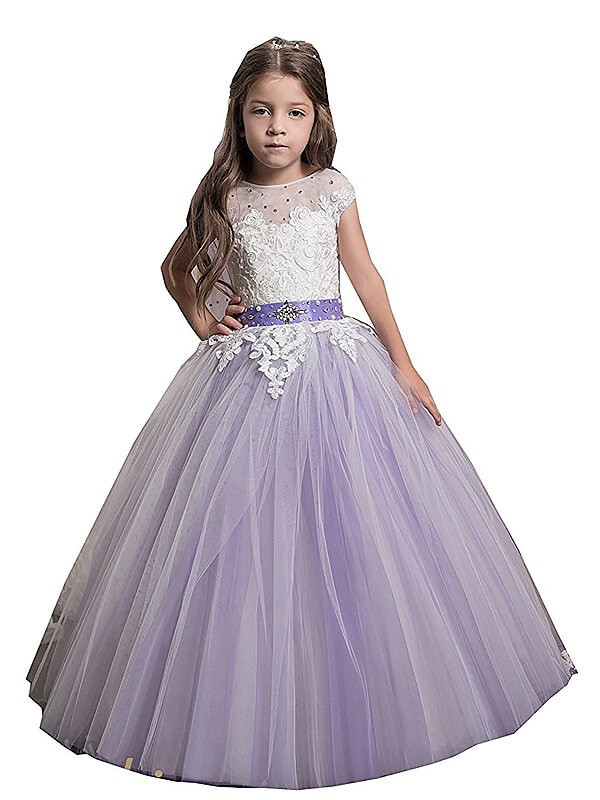Ball Gown Tulle Jewel Floor-Length Flower Girl Dresses with Applique