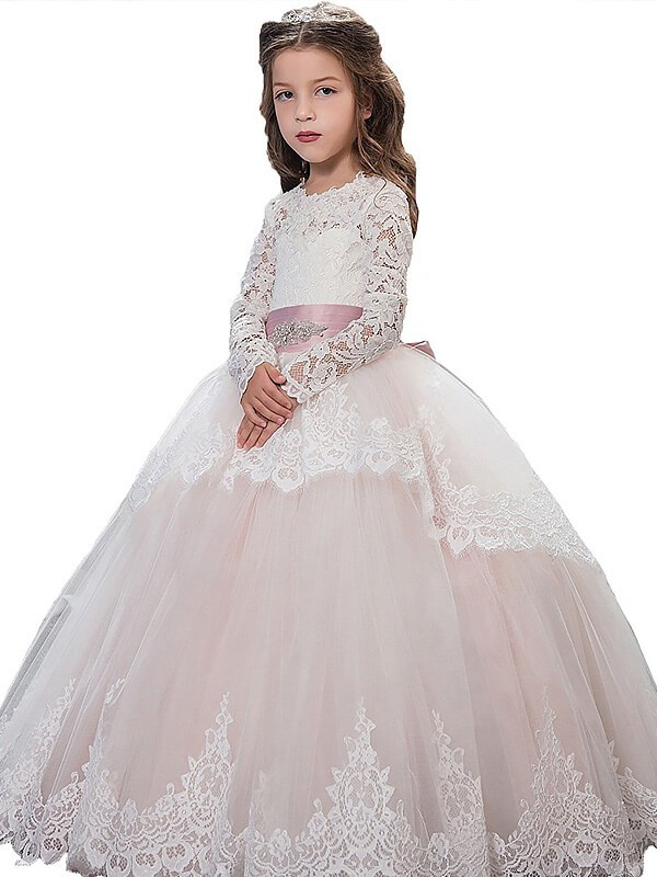 Long SleevesJewel Floor-Length Pearl Pink Flower Girl Dresses
