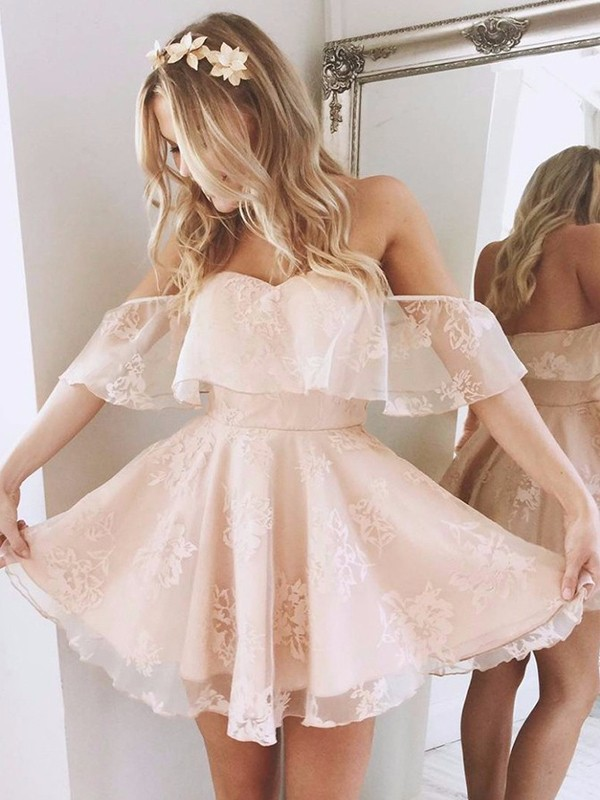 A-Line Off-the-Shoulder Short/Mini Pink Prom Dresses