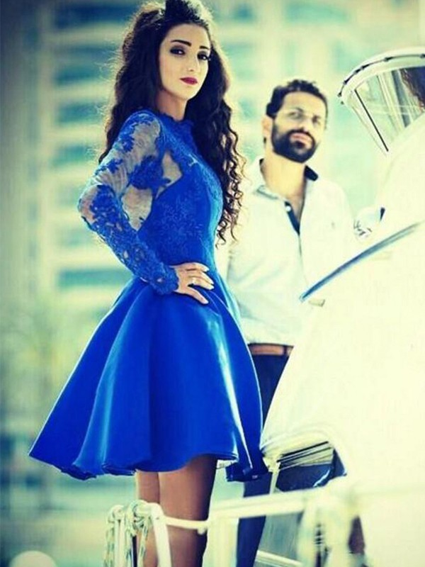 Satin Long Sleeves Jewel Short/Mini Royal Blue Prom Dresses