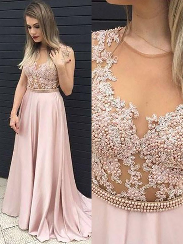 A-Line V-neck Floor-Length Pearl Pink Prom Dresses