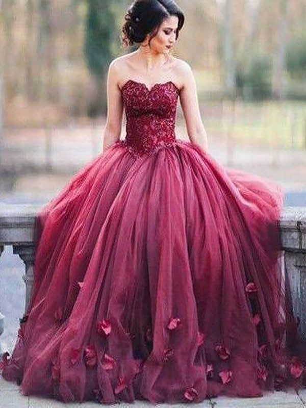 Ball Gown Sweetheart Floor-Length Burgundy Prom Dresses