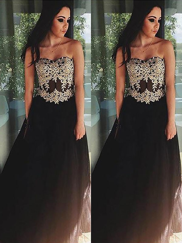 A-Line Tulle Sweetheart Floor-Length Prom Dresses with Applique