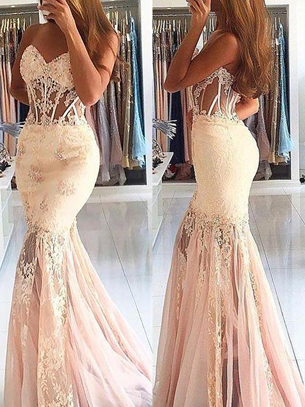 Mermaid Sweetheart Brush Train Pink Prom Dresses with Lace