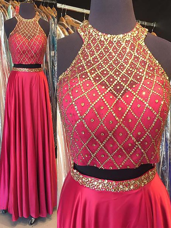 Halter Floor-Length Fuchsia Prom Dresses with Beading