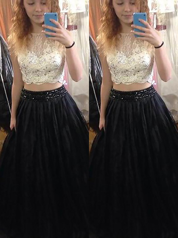 A-Line Bateau Floor-Length Black Prom Dresses