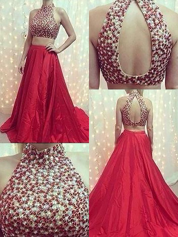 Satin High Neck Brush Train Red Prom Dresses