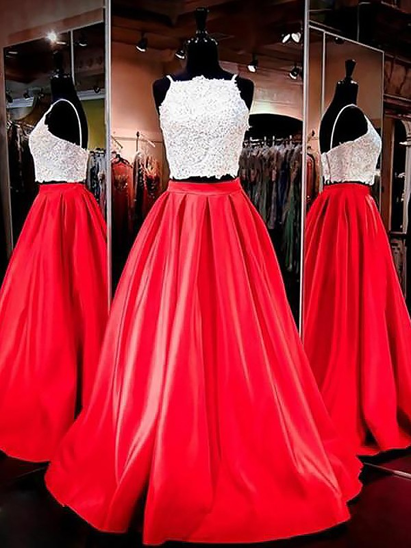 Red A-Line Spaghetti Straps Floor-Length Prom Dresses with Lace