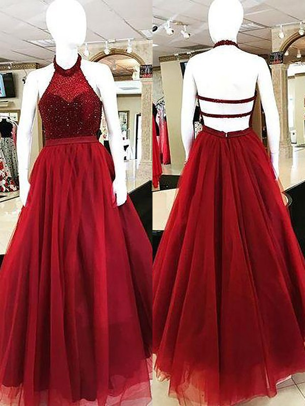 Ball Gown Halter Floor-Length Burgundy Prom Dresses