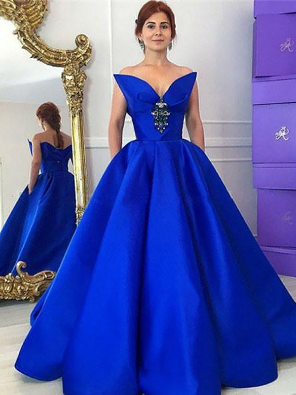 Floor-Length Royal Blue V-neck Prom Dresses with Ruffles