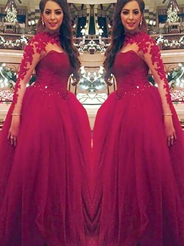 Tulle High Neck Floor-Length Burgundy Prom Dresses
