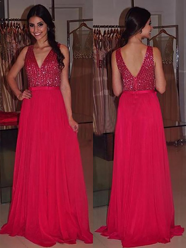 A-Line V-neck Brush Train Red Prom Dresses with Beading