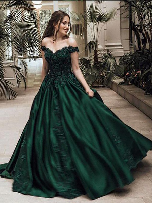 050be167ad9f Ball Gown Off-the-Shoulder Floor-Length Dark Green Prom Dresses ...