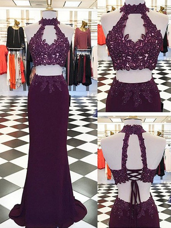 Sheath Halter Floor-Length Burgundy Prom Dresses with Applique