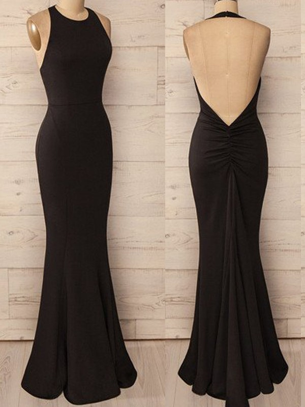 Black Halter Spandex Floor-Length Prom Dresses
