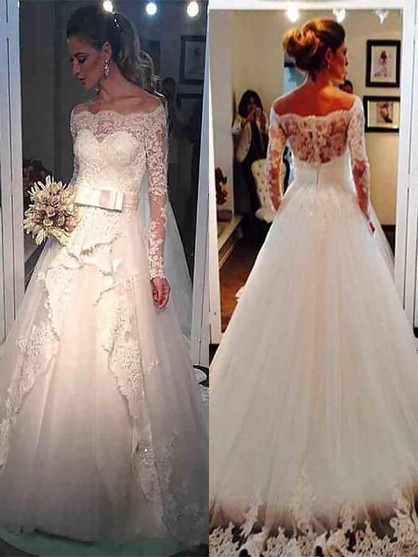 Ball Gown Off-the-Shoulder Brush Train Ivory Wedding Dresses