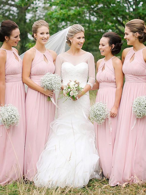 A-Line Scoop Floor-Length Pink Bridesmaid Dresses
