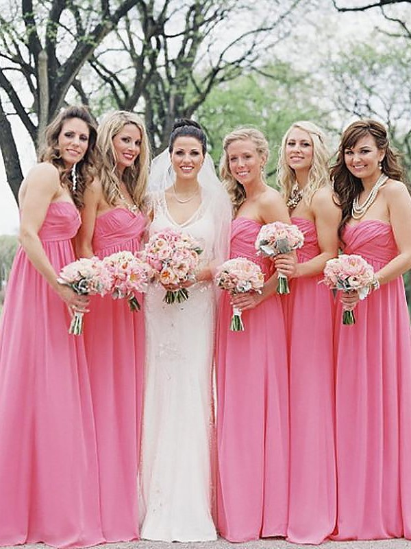 A-Line Chiffon Sweetheart Floor-Length Watermelon Bridesmaid Dresses