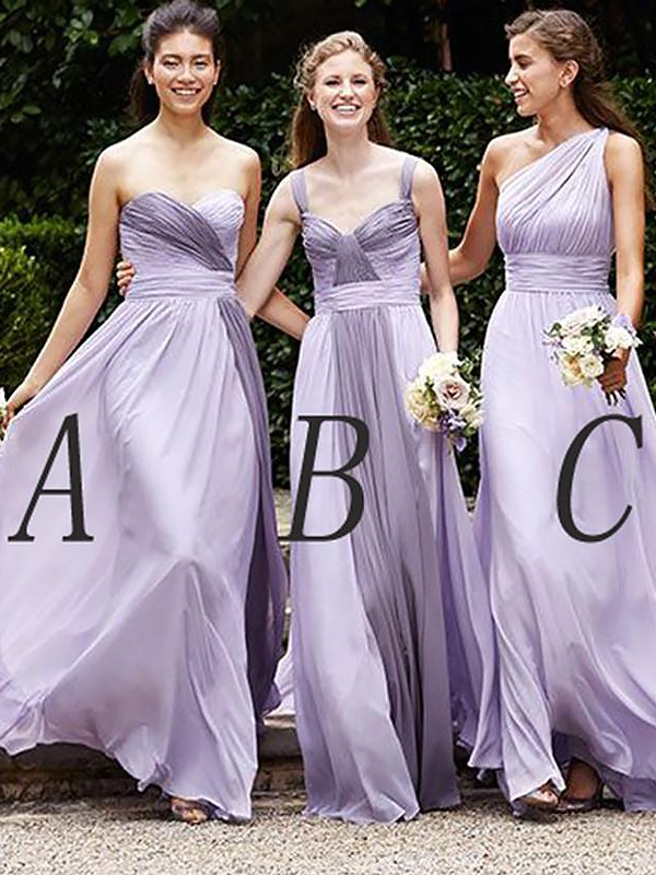 Floor-Length Lilac Bridesmaid Dresses