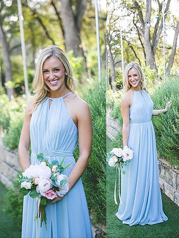 Chiffon Halter Floor-Length Light Sky Blue Bridesmaid Dresses