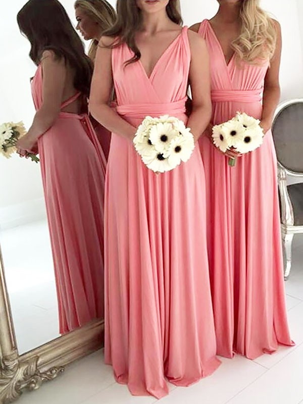 A-Line V-neck Floor-Length Watermelon Bridesmaid Dresses