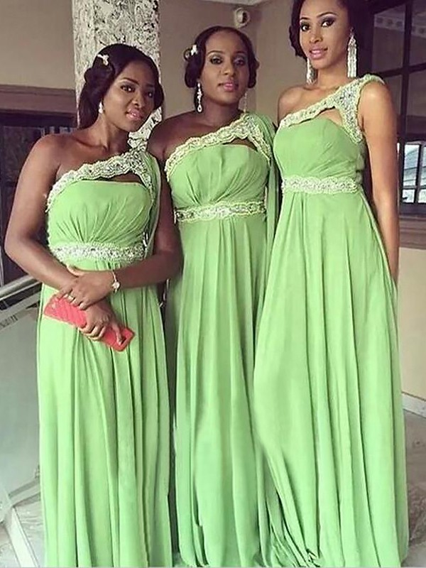 Chiffon One-Shoulder Floor-Length Sage Bridesmaid Dresses